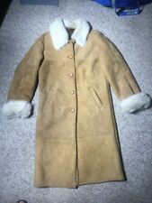 Mens Small Owen Barry Brown Shearling Sheepskin Coat Jacket England Fur Accents