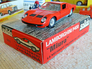 Sublime Vraie Solido série 100 1968 RARE Lamborghini Miura 161 Boite présentoir