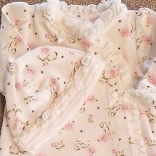 SWEET BABY PREEMIE LITTLE ME 2PC PINK FLORAL FOOTED SLEEP N PLAY OUTFIT W/HAT