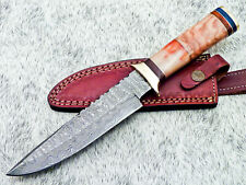 "Authentic HAND FORGED DAMASCUS BLADE 12"" HUNTING KNIFE - STAINED BONE TM-358"