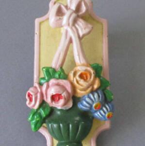 Antique c1920s HUBLEY #287 Cast Iron Door Knocker * BASKET of ROSES + Pink BOW