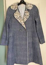 Pero Péro Blue Coat Embellished Collar Double Breasted EUC