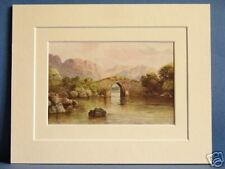 BRICKEEN BRIDGE KILLARNEY MUNSTER IRELAND RARE VINTAGE DOUBLE MOUNTED PRINT