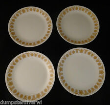 """4 Butterfly Gold large dinner plates 10"""" plate vintage 1960 1970s Pyrex Corelle"""