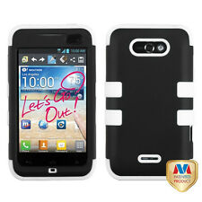 For LG Optimus Regard Motion 4g IMPACT TUFF HYBRID Case Phone Cover  Black White