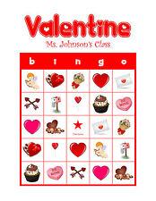 Valentine's Day Bingo Personalized Class Party Game & Activity Heart Bingo Cards