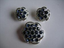 Vintage Kramer Silvertone with Sparkling Deep Blue Stones Brooch and Earrings