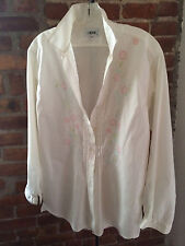 Womens L/S Button Down Embroidered Pleated WHITE Shirt Blouse Sz 42 EUR / 8 US