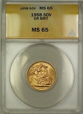 1958 Great Britain Sovereign Gold Coin ANACS MS-65 Gem BU (A)