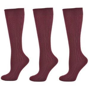 Classic Cable Knit Hi Bulk Acrylic Knee High School Uniform Socks 3 Pair Pack