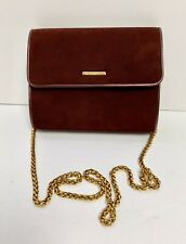 St. John Maroon Suede Leather Chain Handle Shoulder Bag Clutch $120