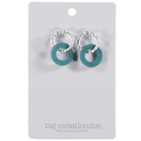 Big Metal London Celia Irregular Loop Earrings Silver Blue