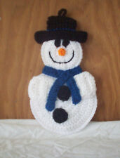 Crocheted Snowman Pot Holder / Hot Pad / Wall Decoration - Dark Blue