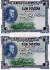 1925 SPAIN España 2X100 Pesetas CONSECUTIVE EF/aUNC NOTES F3,690,841- F3,690,842
