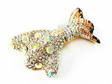 HAIR PIN Clip AB Crystal Swarovski Element Cubic Zirconia bowknot Barrette Brown