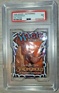 1998 MAGIC THE GATHERING, GRADED PSA 7 STRONGHOLD FOIL PACK, MOX DIAMOND, QUEEN?