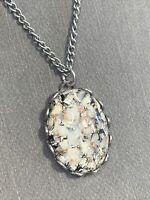 """1950's Glass Confetti black silver copper Cabochon Pendant Necklace 15"""""""