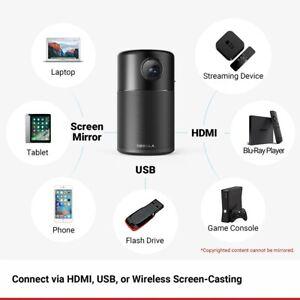 "Nebula Capsule Smart Portable Wi-Fi Mini Projector  360' Speaker 100"" Picture"