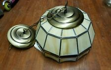 Stained Glass Lead Chandelier Hanging Light Shade Tan Yellow Red