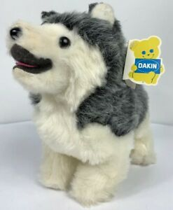 "Dakin Pillow Pets Siberian Husky Puppy Dog Gray Little Nanook 12"" Plush 1977"