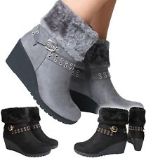 New Womans Ankle High Wedge Heel Black Grey Boots Winter Warm Faux Fur Collar