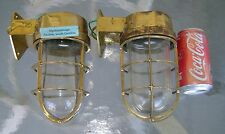Original Cast Brass Nautical Wall Mounted Bulkhead Ship Lights Rewired X 2