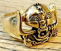 Motorhead Warpig Ring Band Lemmy Kilmister Gold Stainless Steel Jewellery - New
