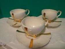 Vintage 3 Loma Coffee Cups and Saucers Off White Gold Porcelain