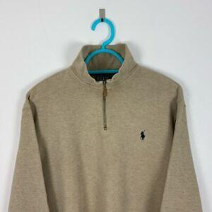 Vintage Polo Ralph Lauren Beige Quarter-Zip Sweatshirt