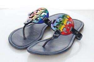 23-22 $198 Women's Sz 9.5 M Tory Burch Miller Leather Flip Flop Sandals In Navy