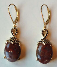 RED LACE AGATE, BLACK SPINEL, 14K YG OVER STERLING SILVER, LEVER BACK EARRINGS