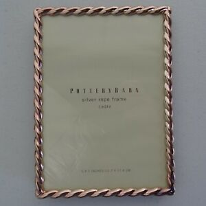 Pottery Barn 5x7 Inches Silver Rope Frame Cadre Rose Gold Tone Metal Table Photo