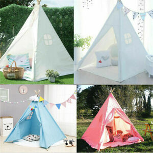 Large Canvas Kids Indian Tent Teepee Boy Girls Wigwam Indoor Outdoor Play House