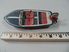 Haji SPEEDO Windup Tin Litho Boat With Outboard Motor Made In JAPAN