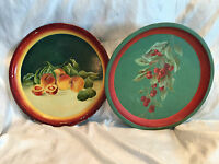 """Collectible Vintage 2 Hand Painted Metal Tole Trays 12-3/4"""" Peaches/Cherries"""