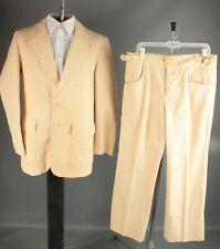 Vtg 70s Neiman Marcus Patchwork Cream Leisure Suit Jacket M/L Pants 36x31 #6909