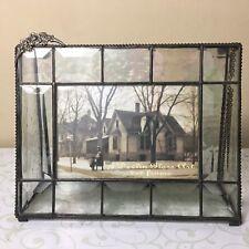 J. Devlin Glass Art Keepsake Box Iridescent with 4 x 6 Photo Frame Flowers