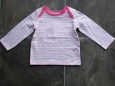 BNWT Baby Girl's Pink & White Stripes Long Sleeve Cotton Top Size 00