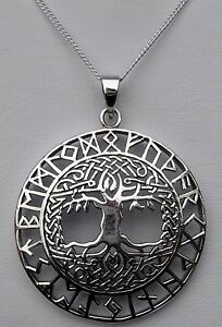 Sterling Silver (925) Tree Of Life Rune Pendant With Silver 925 Chain  !!