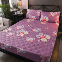 Quilted Fitted Mattress Pad Cover Protector King Mattress Bedding Cover