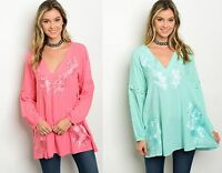 Womens Ladies Long sleeve V-neck embroidery tunic blouse Plus Size 10 12 14 16