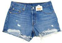 New Levi's 501 Womens Button Fly Blue Raw Hem Mid Rise Denim Shorts Sz 28