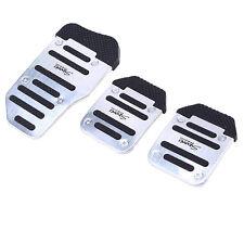 3pcs Aluminum Silvery Sports Non-Slip Manual Car Pedal Cover Set kit Universal
