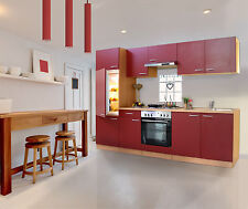 Küchenzeile Küche Küchenblock 270 cm breit  mit E-Geräten Bordeauxrot