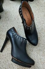 BN Staccato Black Leather Studded High Heel Platform Ankle Shoe Boots UK Size 5