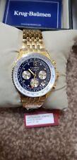 Krug Baumen 400104DS Air Traveller Diamond Blue Dial Watch