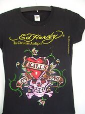 Ed Hardy Christian Audigier Ladies Mdm-Short Sleeve Shirt-Pretty Beaded Design