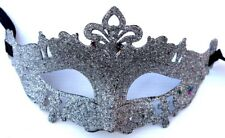 Men Ladies Silver Glitter Venetian Masquerade Party Prom Carnival Eye Mask