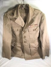 WW2 US NAVY USN OFFICER DRESS KHAKI JACKET COAT W/ WIDE 3 Place Ribbon Bar Named