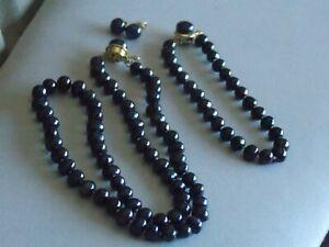 Stunning Genuine Freshwater Pearl Necklace Bracelet & Earrings (pierced) Set